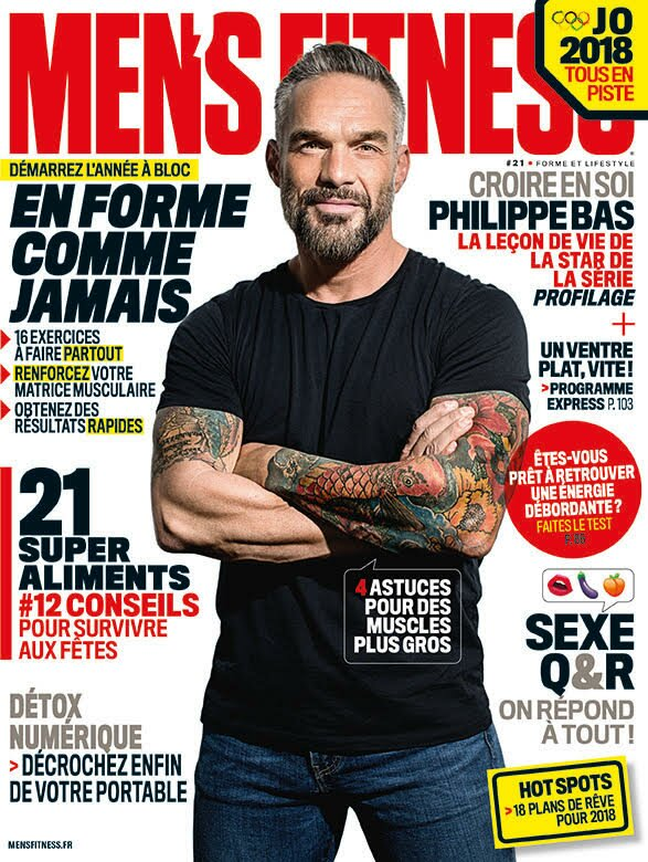 l 39 acteur philippe bas est en couverture de men 39 s fitness men 39 s fitness magazine. Black Bedroom Furniture Sets. Home Design Ideas